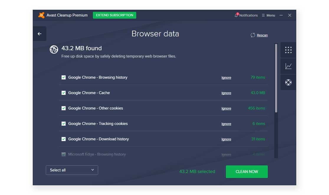 Avast Cleanup Premium Browser Cleaner