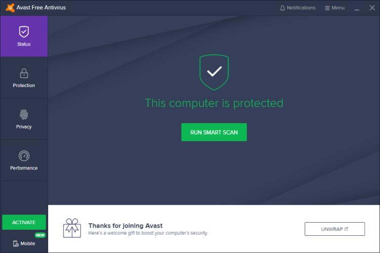 Avast Main Screen