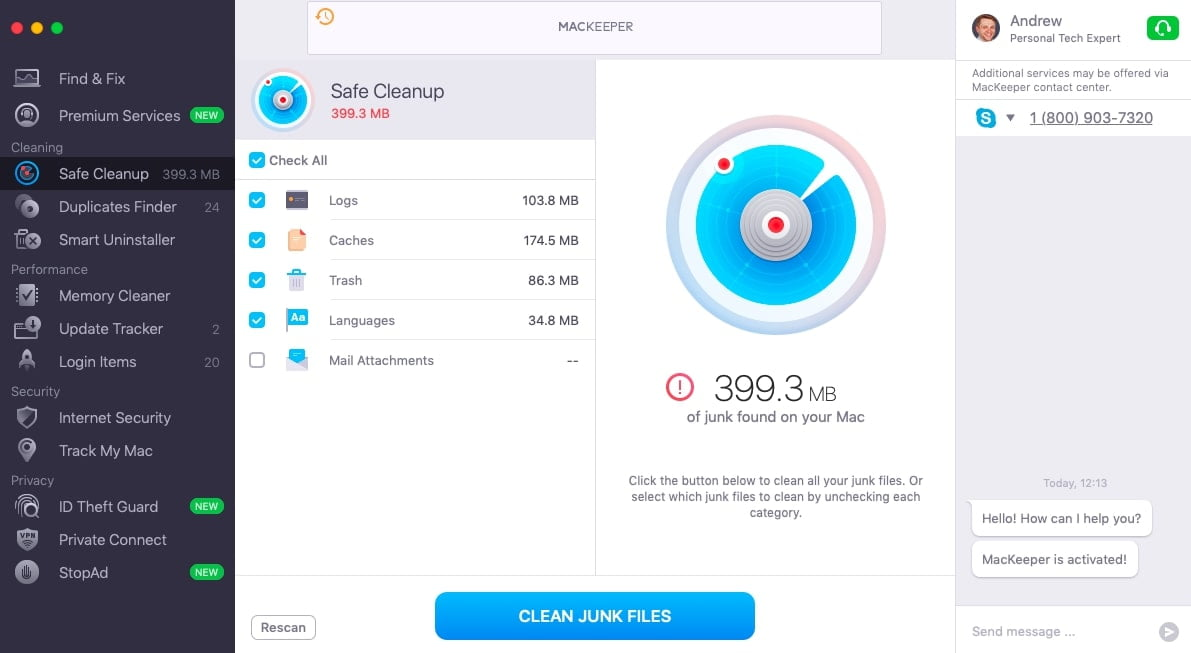 MacKeeper Safe Cleanup