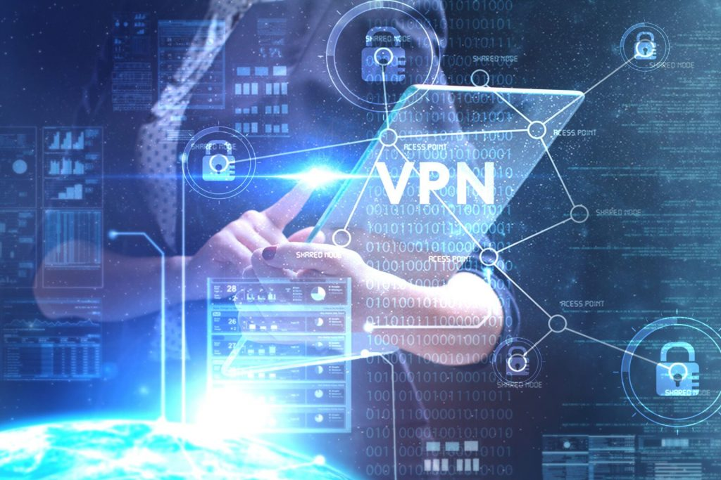 The Concept Of Business, Technology, The Internet And The Network. A Young Entrepreneur Working On A Virtual Screen Of The Future And Sees The Inscription: Vpn
